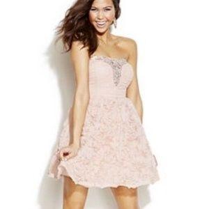 Windsor Juniors 5 Strapless Rosette Mini Dress